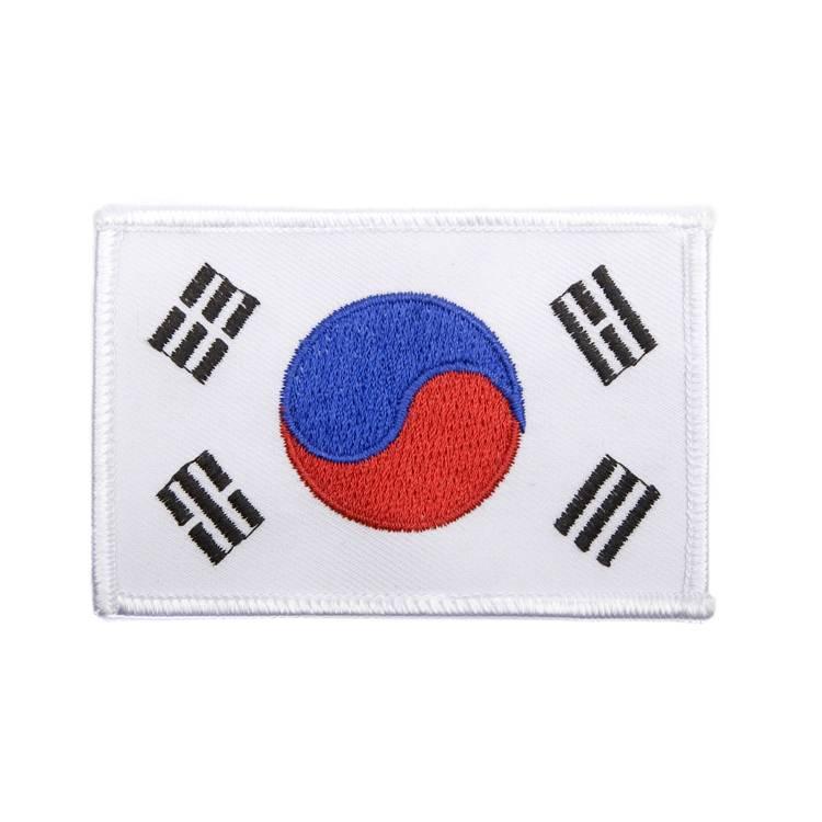 korean flag white trim patch bushido martial arts